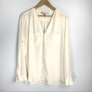 Forever 21 Contemporary White Button Down Blouse